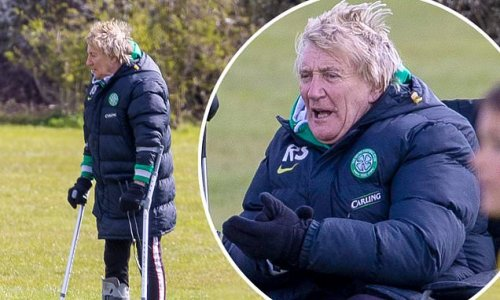 Rod Stewart watches son Aiden's match on crutches after ankle surgery