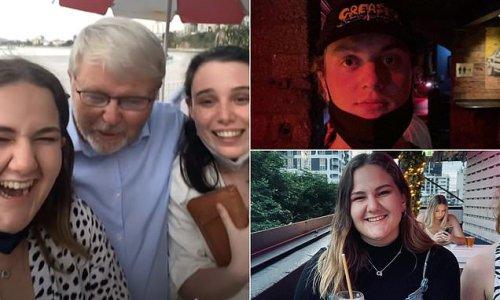 Bizarre moment Kevin Rudd calls a young woman a 'serious sheila'