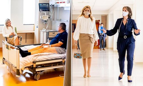 Queen Maxima of the Netherlands looks stylish for a hospital visit