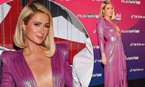 Paris Hilton wows in a plunging pink gown at Tubi and TikTok event