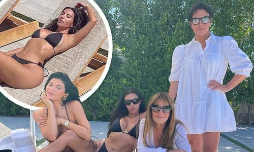 Kim Kardashian and Kylie Jenner pose in bikinis in family snap