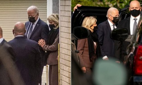 Jill Biden holds onto Joe's arm after medical appointment