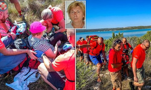 Pictures show moment mystery woman was rescued on Croatian island