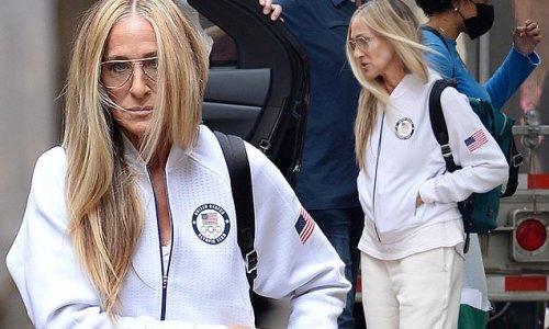 Sarah Jessica Parker wears a Team USA Olympics jacket
