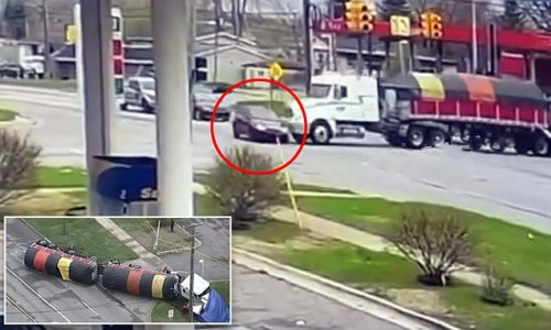 Moment mom, 35, was killed when she ran red light and semi hit car