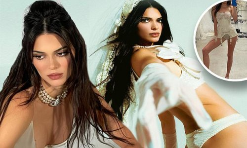 Kendall Jenner tries on a corpse bride Halloween costume