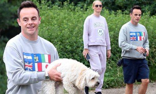 Ant McPartlin and fiancée Anne-Marie Corbett are seen on dog walk