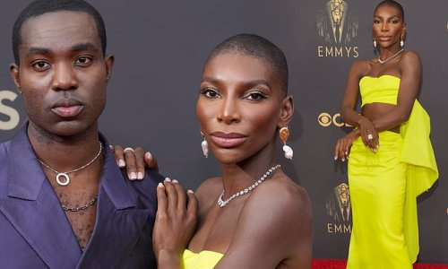 Michaela Coel hits the red carpet at the 73rd Primetime Emmy Awards