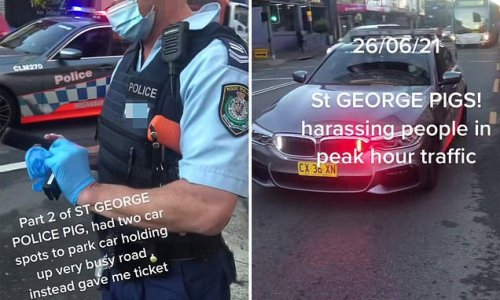 NSW cop slammed for parking in middle of the road during traffic stop