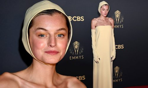 Emma Corrin looks straight out of The Handmaid's Tale at Emmy Awards