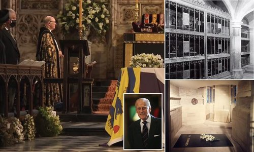 Prince Philip's coffin is lowered into vault below St George's Chapel