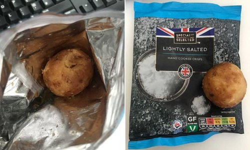 Woman is left speechless after finding a whole potato in crisp packet
