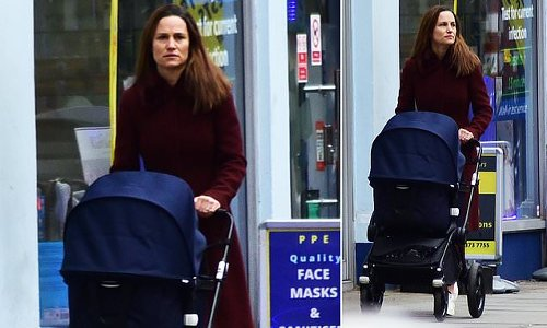 Pippa Middleton takes a stroll with daughter Grace in pram in Chelsea