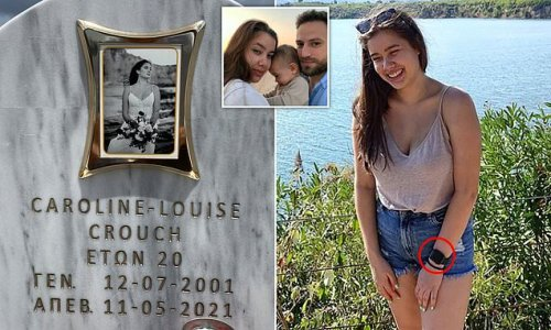 Pictured: Tragic Caroline Crouch in wedding dress on her gravestone