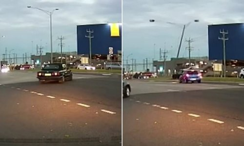 Light pole nearly falls onto oncoming traffic after shocking car crash