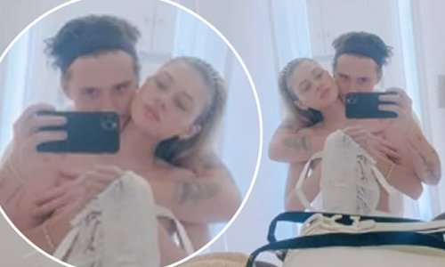 Brooklyn Beckham and fiancée Nicola Peltz pose for cheeky nude selfie