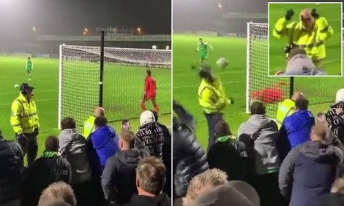Yeovil's Tom Knowles smashes penalty into the FACE of steward