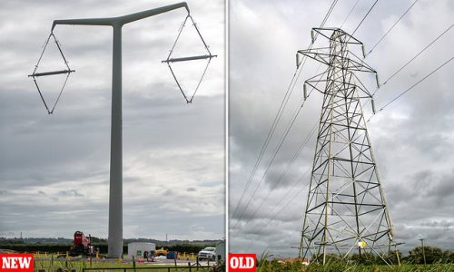 T-shaped electricity pylons being installed from Hinkley Point