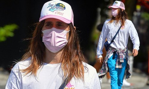 Jared Leto sports shirt featuring logo of his band 30 Seconds To Mars