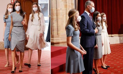 Letizia of Spain recycles Hugo Boss dress for a THIRD time