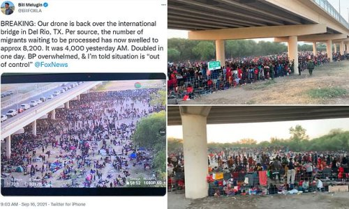 Drone footage shows 8,000 illegal migrants waiting under Texas bridge