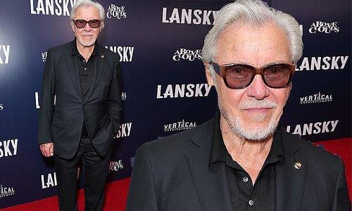 Harvey Keitel, 82, pairs suit with sandals at Lansky premiere in LA