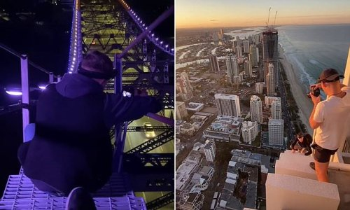 Insane videos by daredevils who dice with death atop high-rise towers