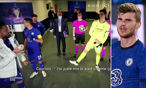 Courtois caught JOKING with Giroud in the tunnel about Werner's miss
