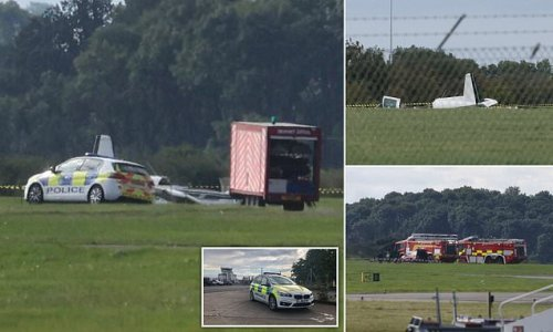 Pilot and passengers rushed to hospital as aircraft crashes on runway