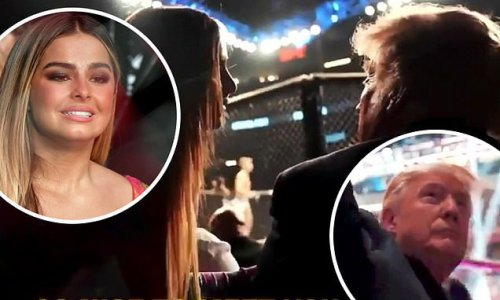 Addison Rae introduces herself to Donald Trump at the UFC 264 match
