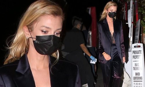 Stella Maxwell stuns in a lace bodysuit as she grabs dinner in LA