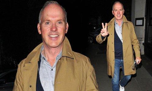 Michael Keaton, 69, appears in good spirits for dinner in London