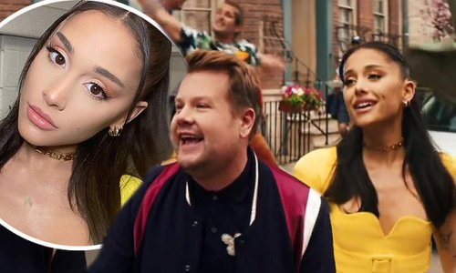 Ariana Grande joins James Corden for first TV spot since her wedding