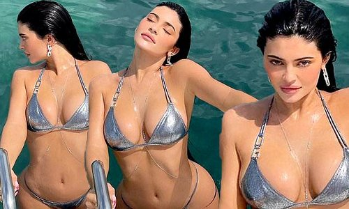 Kylie Jenner in a silver bikini after 'filing trademark Kylie Swim'