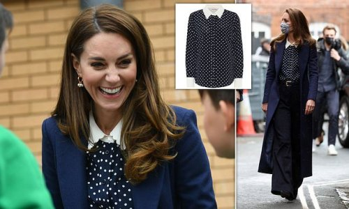 Kate Middleton dons £380 Tory Burch blouse and £39 Jigsaw flares