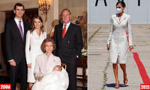Queen Letizia of Spain recycles a dress she first wore 15 YEARS ago