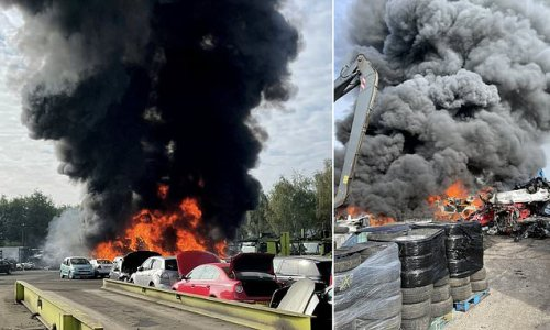 Massive 100-car fire at recycling plant causing delays on M6