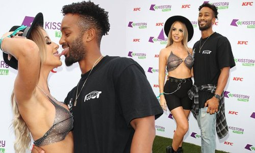 Faye Winter puts on a busty display in a see-through sequin crop top