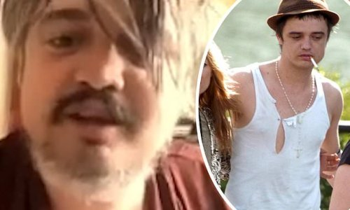 Pete Doherty sports a new grey beard and dishevelled locks