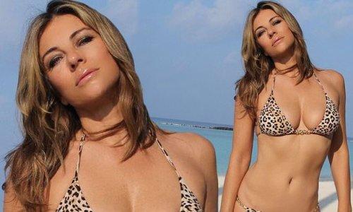 Elizabeth Hurley turns up the heat in a tiny leopard print bikini