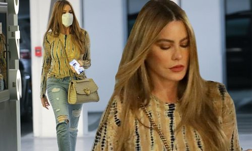 Sofia Vergara runs errands in tie dye blouse and distressed jeans