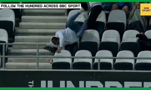 Cricket fan dives over seats to take incredible catch in the stands