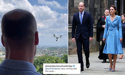 Prince William looks out at hovering drone as he teases 'announcement'