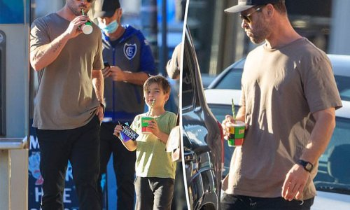 Chris Hemsworth steps out in Byron Bay with his twin boys for Boost