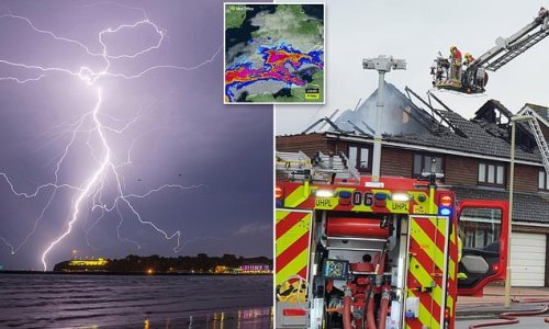 Storm chaos sweeps UK as bolt from sky blasts hole in house