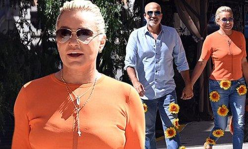 Yolanda Hadid and new beau Joseph Jingoli step out in sunflower pants