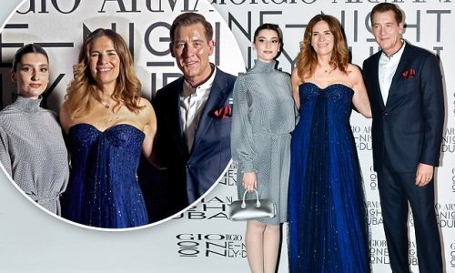 Clive Owen and daughter Eve pose at One Night Only Dubai fashion show