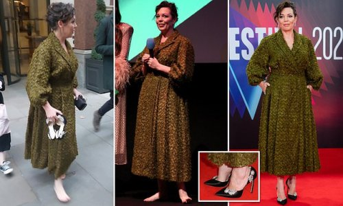 TALK OF THE TOWN: Olivia Colman and her £895 suede Jimmy Choos