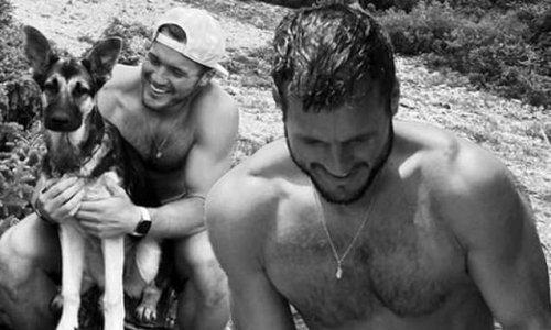 The Bachelor star Colton Underwood goes shirtless alongside dog Zooka