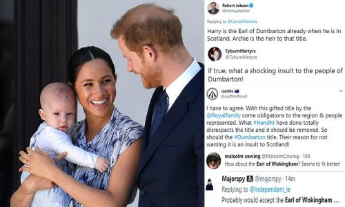 Social media jest at claims Harry and Meghan Earl of Dumbarton row